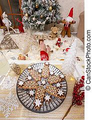 fronte, albero, cibo, decorazioni, natale, lotti