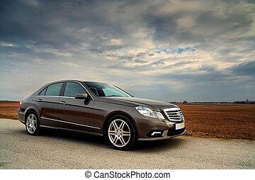 fronte, automobile, lusso, vista