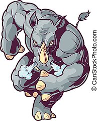fronte, cartone animato, vettore, rinoceronte addebita