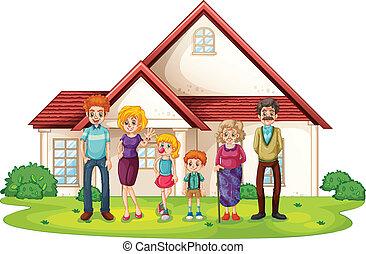 fronte, casa, grande, famiglia, loro