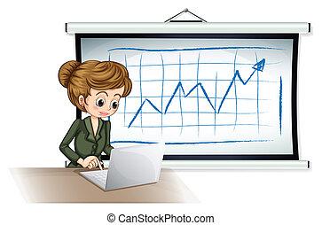fronte, donna d'affari, laptop, asse, usando