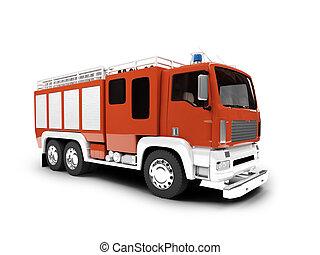 fronte, firetruck, isolato, vista