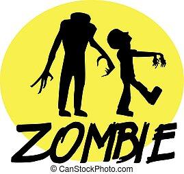 fronte, luna, zombies, notte