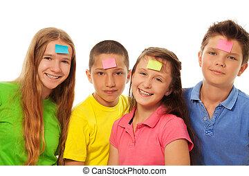 fronte, quattro, bambini, adesivi