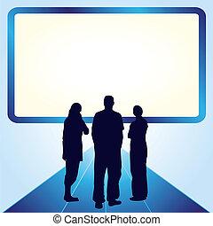 fronte, schermo, persone