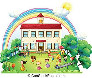 fronte, scuola, gioco, bambini