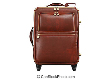 fronte, valigia, viaggiare, bagaglio, vista, cuoio