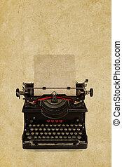 fronte, vendemmia, sepia, fondo, macchina scrivere