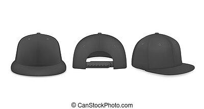 fronte, vista, vuoto, snapback, berretto, baseball, manichino, vettore, bianco, fondo., 3d, icona, berretto, isolato, disegno, realistico, indietro, closeup, set, advertise., lato, sagoma, marcare caldo, nero
