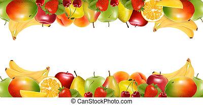 fruit., delizioso, profili di fodera, maturo, due, vector., fatto