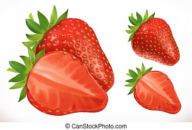fruit., realistico, vettore, strawberry., fresco, 3d, icona