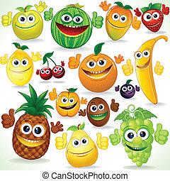 fruits., arte, divertente, cartone animato, clip, colorito