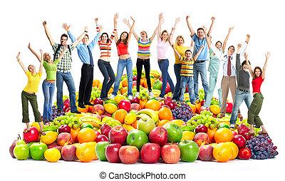 fruits., persone, felice, gruppo
