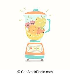 fruits., pieno, divertente, frullatore