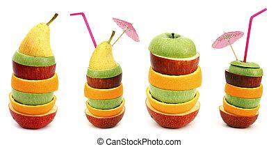 frutta, accatastare, fette