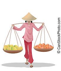 frutta, asiatico, venditore