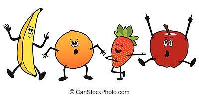 frutta, cartone animato, ballo