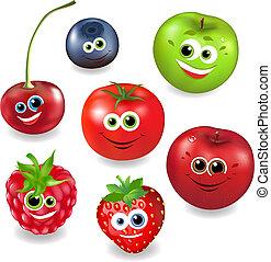 frutta, cartone animato, collezione, bacche
