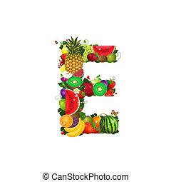 frutta, e, succoso, lettera