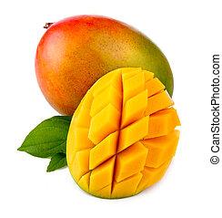frutta, fresco, isolato, mette foglie, verde, mango, taglio