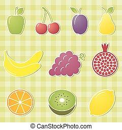 frutta, illustration., vettore, icons.