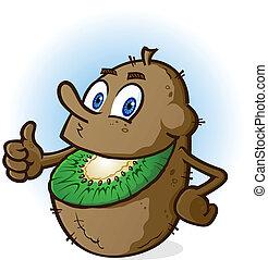 frutta kiwi, carattere, cartone animato