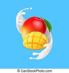 frutta, mango, realistico, schizzo, illustrazione, yogurt