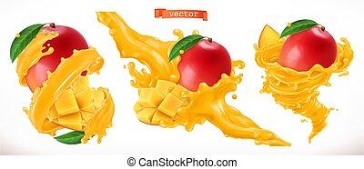 frutta, mango, realistico, vettore, juice., fresco, 3d, icona