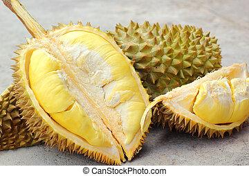 frutta, maturo, durian, mangiato