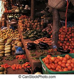 frutta, mercato, verdura