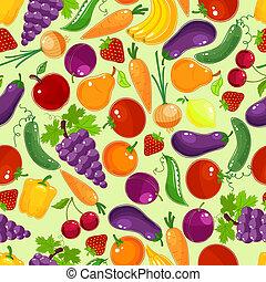frutta, modello, verdura, colorito, seamless