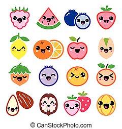 frutta, noci, carino, characte, kawaii