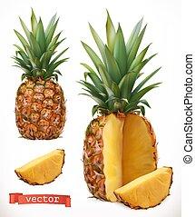 frutta, realistico, vettore, fresco, 3d, pineapple., icona