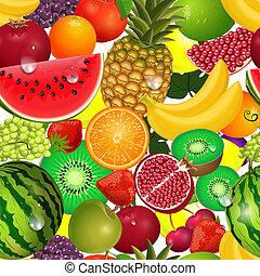 frutta, seamless, struttura, succoso