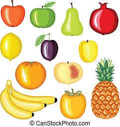 frutta, set, cartone animato