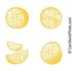 frutta, set, isolato, limoni