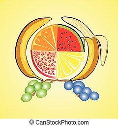 frutta, set, vitamina