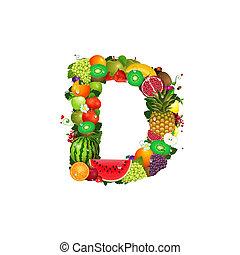 frutta, succoso, lettera, d