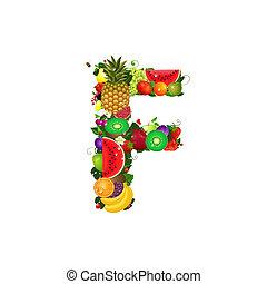 frutta, succoso, lettera f