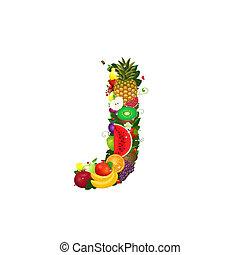 frutta, succoso, lettera, j
