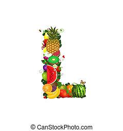 frutta, succoso, lettera l