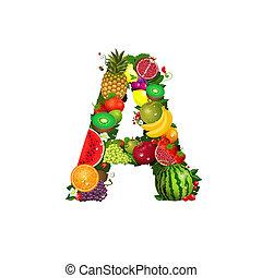 frutta, succoso, lettera