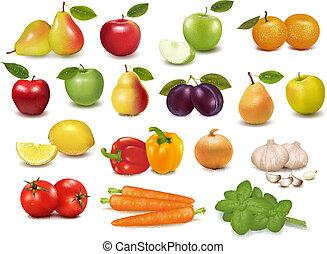 frutte, collezione, grande