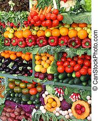 frutte, colorito, verdura