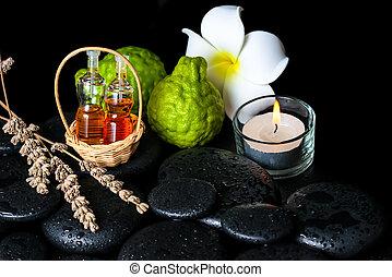 frutte, essenziale, aromatico, bottiglie, terme, olio, bergamotto, concetto