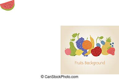 frutte, fondo, scarabocchiare