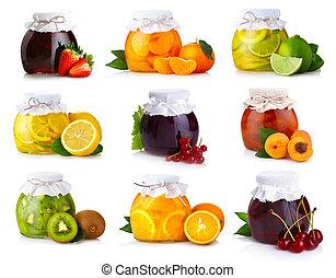 frutte, isolato, set, esotico, vasi, marmellata, vetro