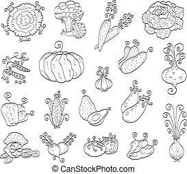 frutte, scarabocchiare, verdura