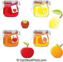 frutte, vasi, marmellata, isolato