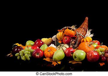 frutte, verdura, cadere, disposizione, cornucopia